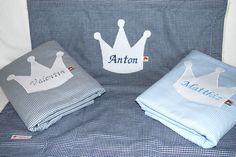 Babydecken - Baby-Kuscheldecke Vichy mit Krone und Namen - ein Designerstück von Bettina-Teckentrup bei DaWanda