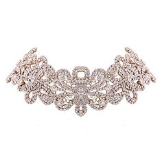 Houda Bohemian Flower Choker for Women Crystal Choker Vintage Statement Necklace Tattoo Gothic choker