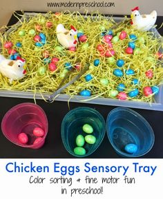 Fine motor and color sorting sensory tray with chicken eggs for toddlers and preschoolers from Modern Preschool, great preschool spring and easter activity Easter activities Chicken Eggs Sorting & Fine Motor Sensory Tray Farm Activities, Spring Activities, Infant Activities, Holiday Activities, Toddler Fine Motor Activities, Science Activities, Sensory Boxes, Sensory Table, Farm Sensory Bin