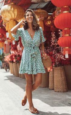 Light green polka point ruffled dress - Light green polka point ruffled dress – stylinbo Source by stylnbo - Green Dress Outfit, Dress Outfits, Green Dress Casual, Cute Dresses, Casual Dresses, Casual Outfits, Long Dresses, Bohemia Dress, Summer Outfits