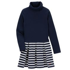 Cotton jersey  Turtleneck  Long sleeves Box pleats on the front and in the back Snap buttons on the shoulder Stripe print - $ 52