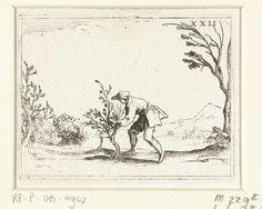Jacques Callot   Een man snoeit een boompje, Jacques Callot, François Langlois, 1625 - 1629   Voorstelling van een man die een klein boompje snoeit. Dit blad is onderdeel van de embleemserie 'Leven van Maria in emblemen'. De eerste staat van deze serie behelst naast een titelpagina en 26 emblemen ook drie bladen met lofzangen op Maria in boekdruk zonder afbeelding.