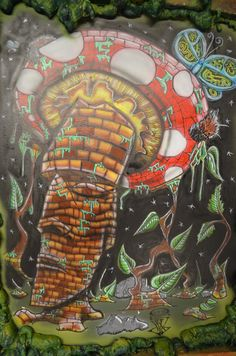 """"""" #Freaky #Tiki """" is an 3' x 2' #MixedMedia #WallMural done inside the sales floor of Sublicious Farms. Meant to reflect the sacredness of the #mushroom. — at Sublicious Farms."""