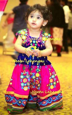 Kids Dress Wear, Kids Wear, Kids Blouse Designs, Kids Ethnic Wear, Little Girl Dresses, Baby Dresses, Baby Girl Patterns, Indian Baby, Kids Lehenga