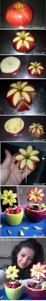 How To Apple Flower Basket. Creation by Seka Arsic Fruit Decorations, Food Decoration, Cute Food, Good Food, Yummy Food, Fruit Creations, Fruit And Vegetable Carving, Dessert Aux Fruits, Food Carving