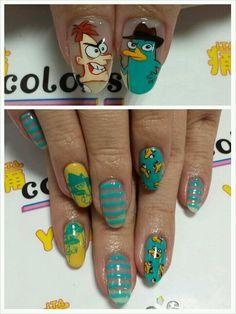 フィニアスとファーブ : Character nail art @majocota