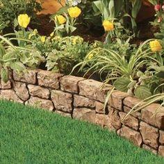 Amazon.com : Gardeneer Stonewall Faux Stone Border Edges, Tan, Pack of 4 : Patio, Lawn & Garden