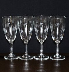 Vintage Set of 4, Quartex Star Dust, Tulip Wine Glasses by cocoandcoffeevintage