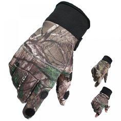 Real Tree Camo camouflage Fishing Hunting semi fingerless Gloves UK