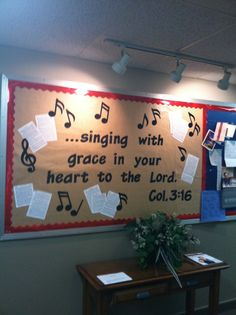 "Church Bulletin Board Ideas | Bulletin board I did at my church ""Singing With Grace in Your Heart to ..."