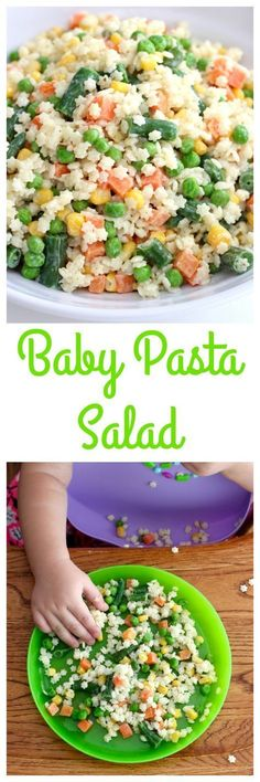 Let your little eater feed themselves this yummy pasta salad that's full of veggies and tossed in a yogurt dressing. How cute is this pasta salad? It's so perfect for your littlest eater or any kiddo in the house for that matter Baby Pasta, Kids Pasta, Baby Food Recipes, Healthy Recipes, Toddler Recipes, Healthy Snacks, Pasta Recipes For Babies, Lunch Snacks, Fingerfood Baby