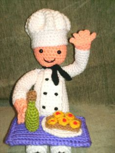 Chef Jeff Amigurumi Man PDF Crochet Pattern with by AerieDesigns, $3.00.