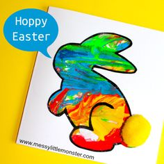 Easy bunny art for kids with free printable bunny rabbit template. An Easter/ Spring craft project for toddlers and preschoolers that uses a fun no mess painting technique.