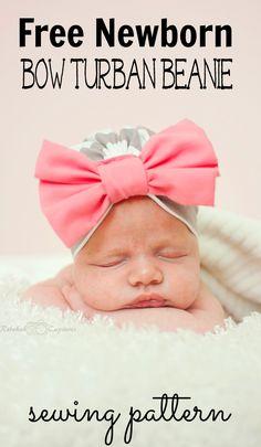 Free baby turban beanie sewing pattern.