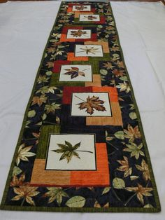 Autumn LeavesTable Runner, Fall Decor, x 60 inches, Long Table Decor Quilted Table Runners Christmas, Patchwork Table Runner, Halloween Table Runners, Table Runner And Placemats, Table Runner Pattern, Fall Table Runner, Fall Placemats, Burlap Table Runners, Quilted Table Toppers