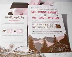 Musical Wedding or Party Invitation and RSVP Card for Northern Mountain event. Brown nature outdoor pink and white. Comes in Musical Box that Sings! Singing music boxed invite.Totally custom, high end/class, couture, and elegant.