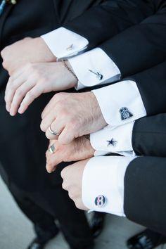 Cool groomsmen gift. Each cuff link is their favorite sports team #SB49
