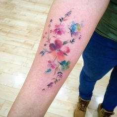 Feminine Colorful Floral Tattoo on forearm EntertainmentMesh feminine tattoos - Tattoos And Body Art Foot Tattoos, Forearm Tattoos, Body Art Tattoos, Small Tattoos, Sleeve Tattoos, Mini Tattoos, Tattoo Ink, Tattoo Sleeves, Arm Tattoos Colour