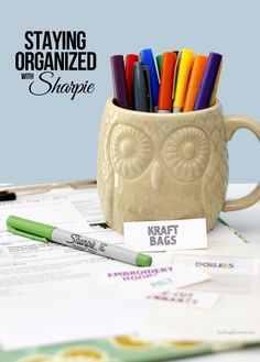 Staying organized with Sharpie as I attempt to organize some of my shipping and craft supplies with sharpie markers, storage containers and binder labels!!