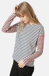 Topshop Mixed Stripe Long Sleeve Top