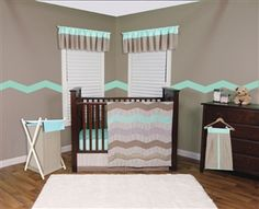 Patterned chevron stripes in calming colors are delicately quilted together giving your nursery a serene homespun feel. Trend Lab's Cocoa Mint 3-Piece Crib Bedding Collection features a lovely mixture of pinstripes, mini dots, gingham and damask diamonds in a tranquil color palette of mint green, taupe, gray and white with accents of brown. The stylish chevron motif and gender neutral color combination make this collection perfect for your baby boy or girl!