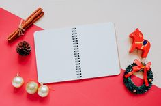 Flat lay of christmas and notebook by Nuchylee Photo on @creativemarket