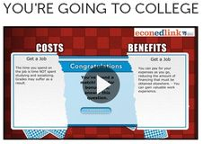 This game-based interactive gives students the chance to learn about costs and benefits, the cost of college, and potential lifetime earnings http://www.econedlink.org/interactives/index.php?iid=174=educator
