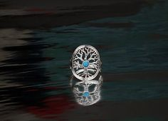 Sterling silver tree of life ring with opal stone by DoronJewelry