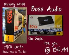 People's Choice Cash and Pawn/Electronics....... 2400 Watts Brand new in the box Boss Audio Amp on sale for 134.99 that is normally 169.99. Can take payment over the phone and ship if needed.