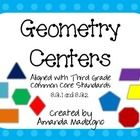 Five fun, hands-on geometry centers aligned with Common Core Math Standards 3.G.1 and 3.G.2.