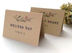 Rustic Wedding Place Cards  Fall Wedding by SideStreetDesigns