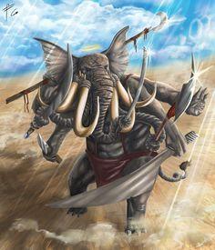 Ganesh Final by verdilaksBreeding on DeviantArt Shiva Art, Ganesha Art, Hindu Art, Mythological Creatures, Fantasy Creatures, Fantasy Warrior, Fantasy Art, Lord Ganesha Paintings, Hanuman Wallpaper