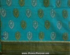 Turquoise Blue Indian Block Print Saree Fabric Floral by RaajMa