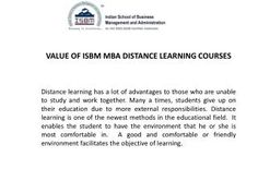 ISBM Mumbai offers distance learning fast track MBA course for working persons who want to get higher education, it is also beneficial for departmental promotion.  Call us to get detailed information about this course.
