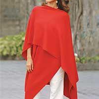 Alpaca blend shawl, 'Fire'