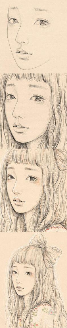 插画记:超美~气质美女·素描线稿~…(关...