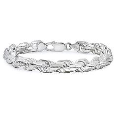 Sterling Silver Rope Bracelet, Thick & Diamond-Cut, Nickel-Free, Made in Italy - 8 inches, Women's Silver Bracelets, Bracelets For Men, Silver Earrings, Beaded Bracelets, Silver Ring, Bracelets With Meaning, Silver Diamonds, Jewelry Supplies, Men's Jewelry