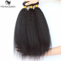 Honey Queen Kinky Straight Brazilian Remy Hair 100% Human Hair Extensions Remy Hair Weaving Bundles 10-28 Inch