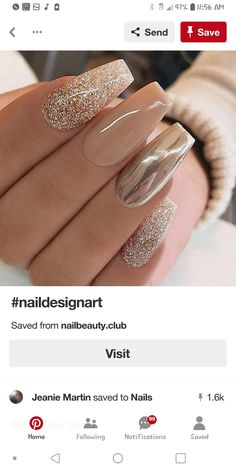 Christmas nails | Welcome to my WOMEN OVER 40 Inspiration Board #womenover40 #womenover50 #womenover60 #womenover70 www.collinsmakeup.com Creative Nail Designs, Elegant Nail Designs, Cute Nail Designs, Acrylic Nail Designs, Creative Nails, Winter Nail Designs, Fancy Nails, Gold Glitter Nails, Glitter Wall Art