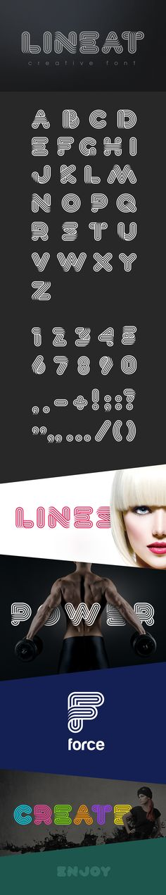 Lineat is stylish innovative creative font can be used as logo design and branding titles & headers posters & banners in such areas as fashion high-tech internet & computers business innovations sport & entertainment etc. Typography Poster Design, Typography Letters, Design Logos, Fashion Logo Design, Fashion Logos, Fashion Art, Creative Fonts, Creative Design, Typography Logo