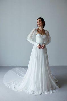 Wedding Dress Chiffon, Long Wedding Dresses, Bridal Dresses, Wedding Gowns, Ethereal Wedding Dress, Wedding Dress Corset, Boohoo Wedding Dress, Tattoo Wedding Dress, After Wedding Dress