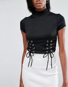 River Island Corset Detail Crop Top With High Neck