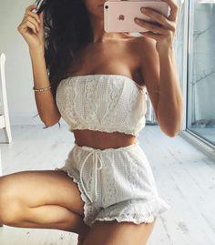 Pearl white crochet bandeau top m high waist tie shorts.