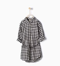 Image 1 of Long gingham shirt from Zara