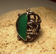 Medusa ring sterling silver and Chrysoprase stone