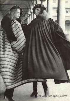 Vogue Italia, December 1977/////Those Italians.....what amazing coats!  I love how they move with the body, esp. the coat in the right.  I would wear that coat!!