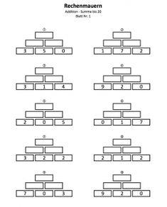 Arbeitsblätter mit Rechenmauern Zahlenmauern zum Ausdrucken. Die ...