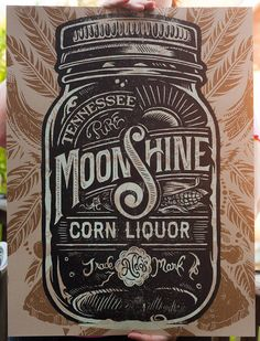 Aldo's Tennessee Moonshine Corn Liquor Screen printed Poster — Designspiration