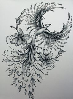 Rising phoenix tattoos with flowers
