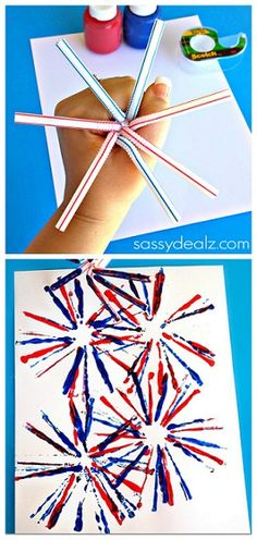 Fireworks Craft for Kids Using Straws - Crafty Morning - - Have your kids make this fireworks craft using a bunch of straws as a stamper! It's a quick and easy of July or Memorial Day art project! Daycare Crafts, Toddler Crafts, Preschool Crafts, Kids Crafts, Easy Crafts, Summer Crafts, Holiday Crafts, Fireworks Craft For Kids, Fireworks Art